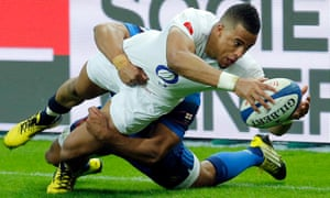 Anthony Watson scores England's third try against France, giving them an edge that in the end enabled Eddie Jones's side to win the Six Nations grand slam.