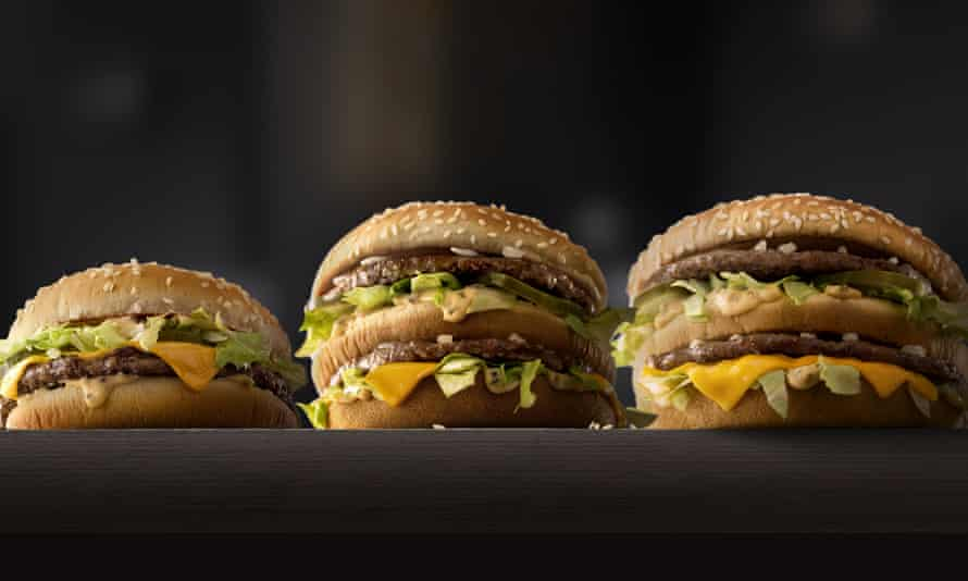 Coming soon to a McDonald's near you? The Grand Mac and the Mac Jr, whch will be slowly rolled out across the US, flank the standard Big Mac.