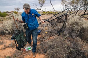 Researcher Hugh McGregor with monitoring gear at the Arid Recovery Reserve near Roxby Downs in South Australia