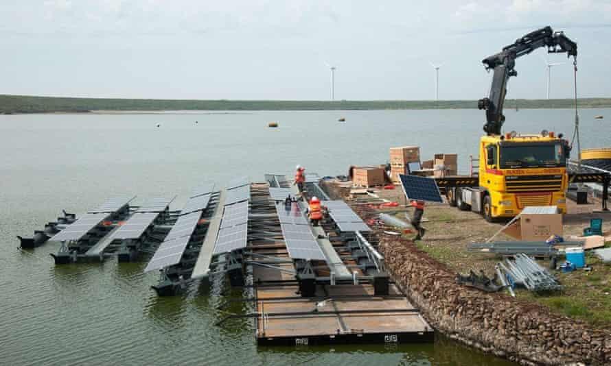 Solar panels under construction