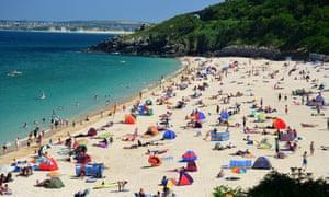beach with sunbathers