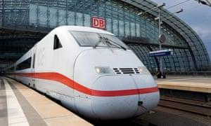 A German high-speed ICE train at Berlin Hauptbahnhof