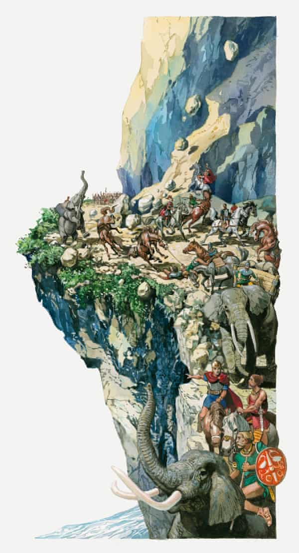 An illustration of Hannibal crossing the Alps with elephants and horses.