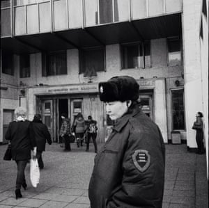 A private security guard outside the Frunzenskaya station.