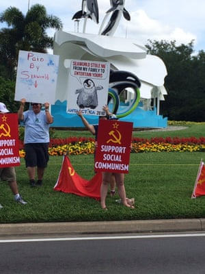 """A SeaWorld protest in Orlando, Florida, where former trainers allege SeaWorld operatives held signs in an attempt to make protesters """"look a little crazy""""."""