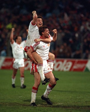 Steve Bruce and Gary Pallister celebrate Manchester United's Cup Winners' Cup triumph in Rotterdam.