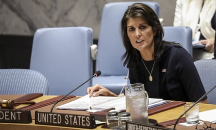 Nikki Haley at UN headquarters in New York City on 17 September.