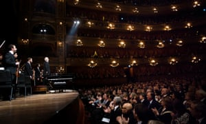 Daniel Barenboim conducts the West-Eastern Divan Orchestra at the Teatro Colon.