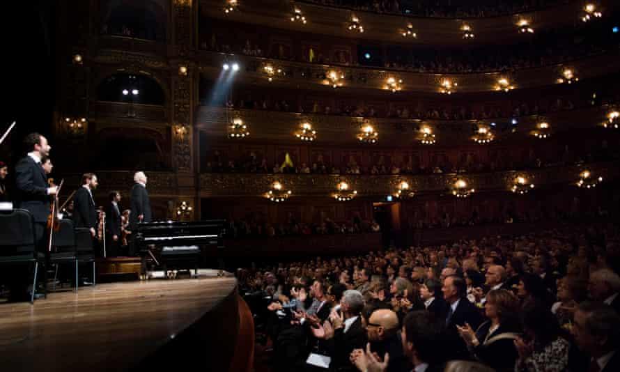 Daniel Barenboim conducts the West-Eastern Divan Orchestra at the Teatro Colon.