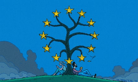 R Fresson illustration of sitting under a tree with the EU stars at the end of the branches