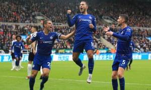 Chelsea's Eden Hazard celebrates scoring from the penalty spot.