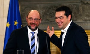 Schulz and Tsipras earlier this year.