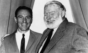 AE Hotchner and Ernest Hemingway pose for a photo in Seattle.