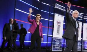 Bloomberg, Warren and Sanders at yesterday's debate