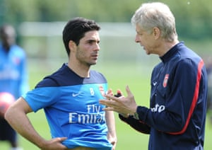Arsène Wenger with Mikel Arteta in 2014. 'Does he have all the qualities to do the job? Yes. He was a leader and he has a good passion for the game and he knows the club well.'
