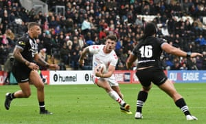 Oliver Gildart takes on New Zealand in Hull.