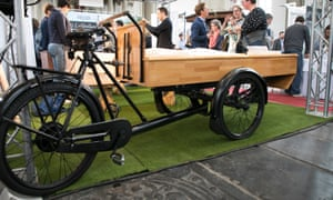 A 'Bakfiets' Dutch transport bike remodelled to transport a coffin.