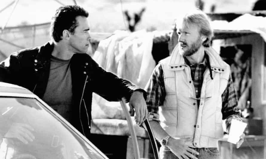 James Cameron with Arnold Schwarzenegger on the set of Terminator 2: Judgment Day.
