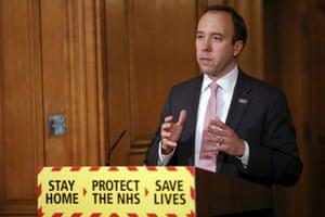 Britain's Health Secretary Matt Hancock speaks during a media briefing on coronavirus in Downing Street, London, Monday, Jan. 25, 2021.