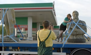 Fuel and photos … the lorry makes a pitstop.