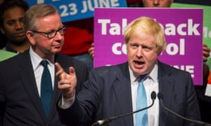 Michael Gove and Boris Johnson at the Vote Leave rally in London.