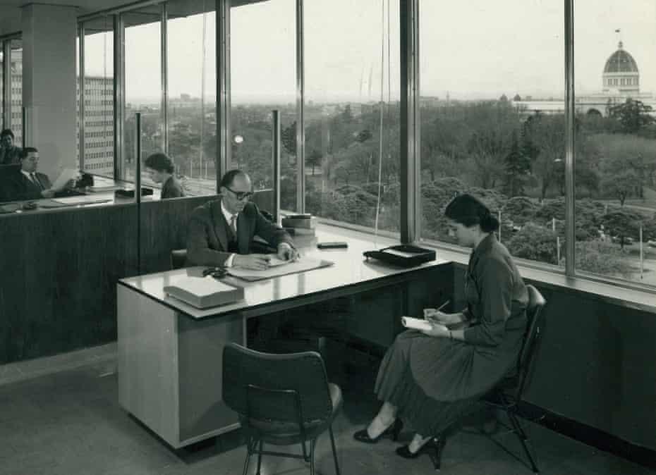An office inside ICI House in 1958.