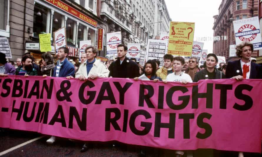 Ian McKellen and Peter Tatchell lead a march against section 28, Manchester, February 1988.
