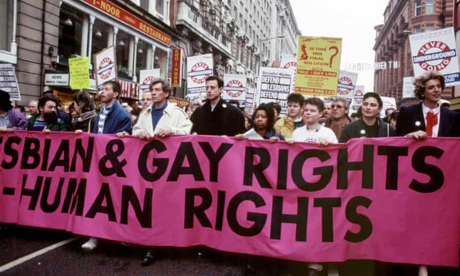 Actor Ian McKellen and Peter Tatchell on march against Section 28, Manchester, February 1988.