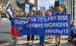 An NHS pay rise protest in London yesterday. Today the social care minister failed to make an expected announcement of a rise.
