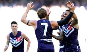 Fremantle players celebrate