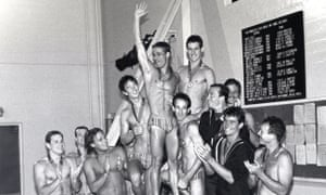 The West Hollywood Aquatics Team, photographed in 1982.