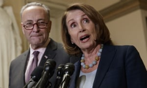 Nancy Pelosi, pictured with Chuck Schumer, said Donald Trump did not have a mandate to fund the wall.
