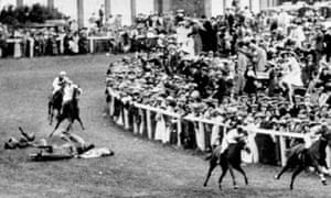Emily Davison and the King's horse in the Derby. She died the next day from a fractured skull in Epsom Cottage Hospital.