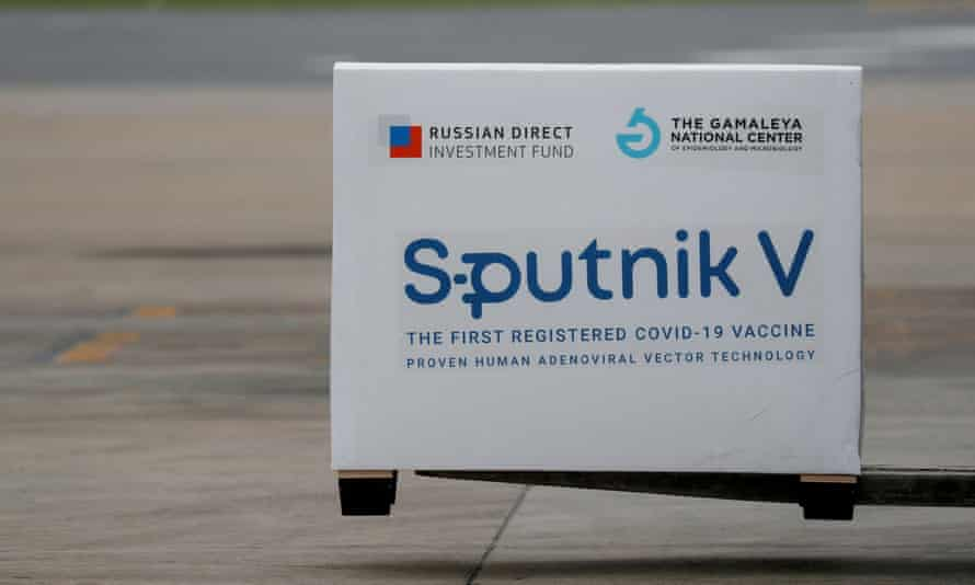 A shipment of doses of the Sputnik V vaccine against Covid-19 is seen after arriving at Ezeiza international airport, in Buenos Aires, Argentina, in January.