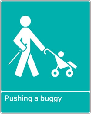 RNIB graphic of cane user pushing a buggy