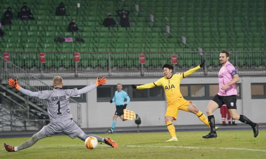 Son Heung-min scores Spurs' second goal in Austria.