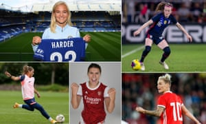 Clockwise from top left: Pernille Harder, Rose Lavelle, Jess Fishlock, Steph Catley and Shelina Zadorsky.
