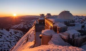 Bagnères-de-Bigorre hotel on snowy mountain in the evening sunlight, La Mongie.