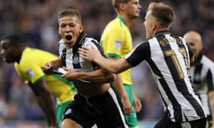 Dwight Gayle, left, has already scored 20 goals for Championship leaders Newcastle. Six years ago he was playing for Stansted in the Essex Senior League.