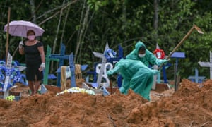Cemetary workers dig graves for victims and suspected victims of the coronavirus pandemic at the Nossa Senhora cemetary in Manaus, Amazon state, Brazil on 6 May 2020.