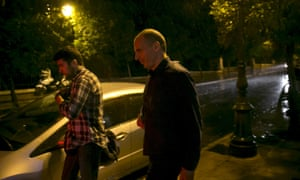 Greek Finance Minister Yanis Varoufakis leaving the Maximos Mansion in Athens tonight.