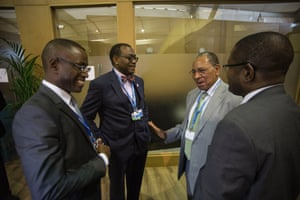 From left to right: the African Development Bank vice-president, Amadou Hott; President Akinwumi Adesina; South Centre special advisor on sustainable development Youba Sokona at COP22 in Marrakech, Morocco, 16 November 2016.