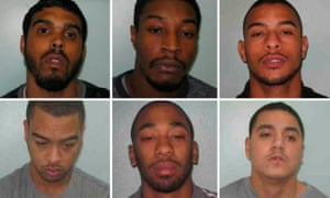 The cases of at least six men convicted under joint enterprise laws will go before the court of appeal on Tuesday. Clockwise from top left: Nicholas Terrelonge, Tyler Burton, Asher Johnson, Reece Garwood, Jerome Green, Lewis Johnson.