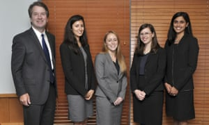 Kavanaugh with his law clerks in 2014–15, in Washington, the first all-women law clerk class in the history of the DC circuit.