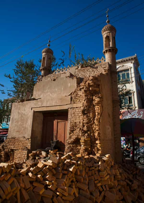 Demolished mosque in the old town of Kashgar, Xinjiang Uyghur Autonomous Region, China.