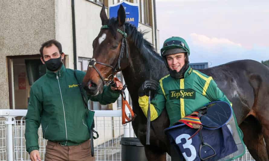 Trainer/owner Phil Kirby with Bushypark and winning jockey Tommy Dowson.