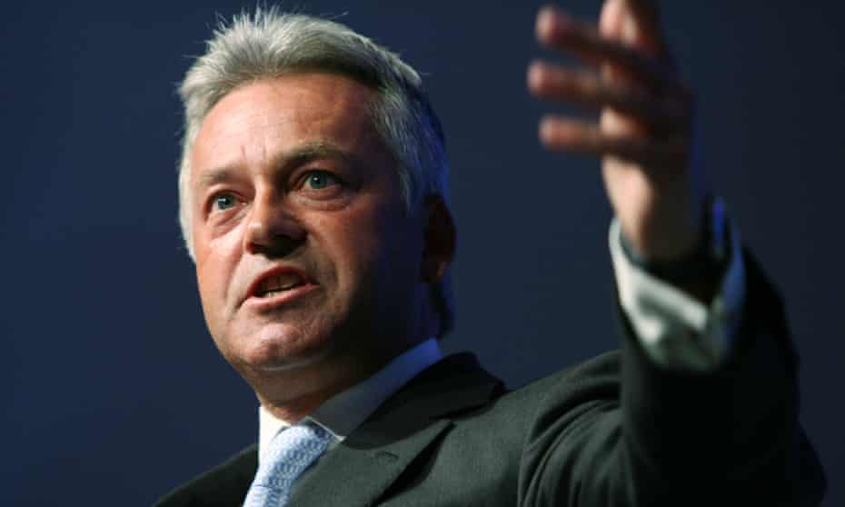 Alan Duncan in 2007, delivering a speech to the Conservative conference as shadow business secretary.