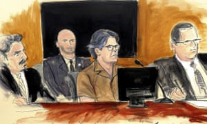A courtroom sketch of Keith Raniere, second from right, leader of the secretive group Nxivm, at a hearing at court in Brooklyn on 13 April 2018.