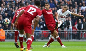 Harry Kane scores Tottenham's first goal in their 4-0 win over Liverpool at Wembley last October.