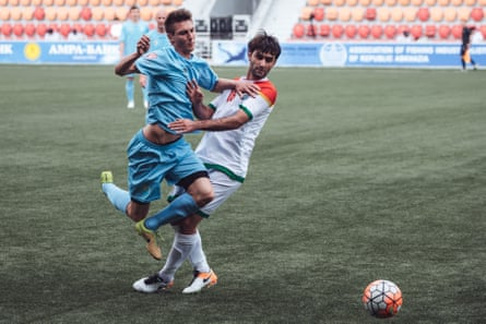 Kurdistan players in the opening match of the alternative World Cup, against Székely Land
